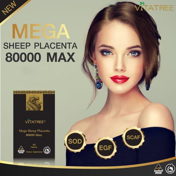 Viên uống nhau thai cừu Vitatree Mega Sheep Placenta làm đẹp da hiệu quả