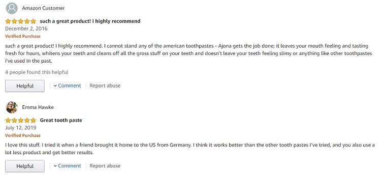 Phản hồi từ phía khách hàng sử dụng Kem đánh răng Ajona 1