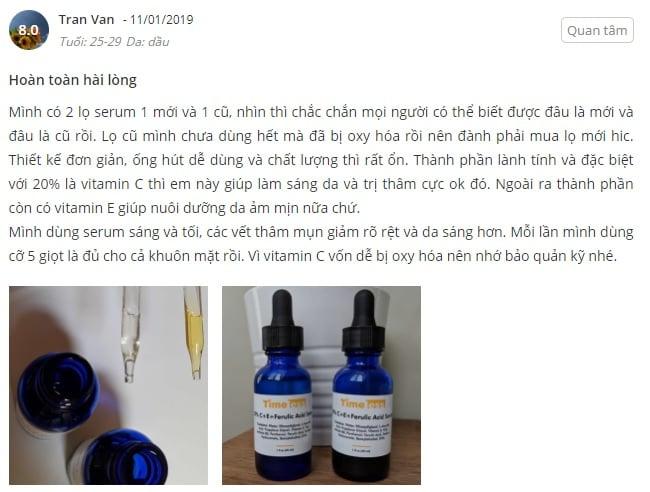Phản hồi từ phía khách hàng sử dụng Serum Timeless 20% Vitamin C + E + Ferulic Acid (1)