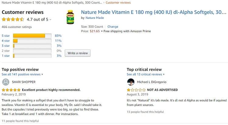 Phản hồi từ phía khách hàng sử dụng Vitamin E 400 iu Nature Made 2