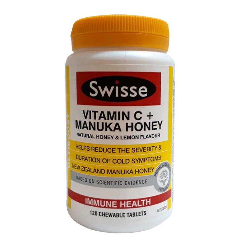 Viên uống tăng miễn dịch Swisse Vitamin C Manuka Honey Úc