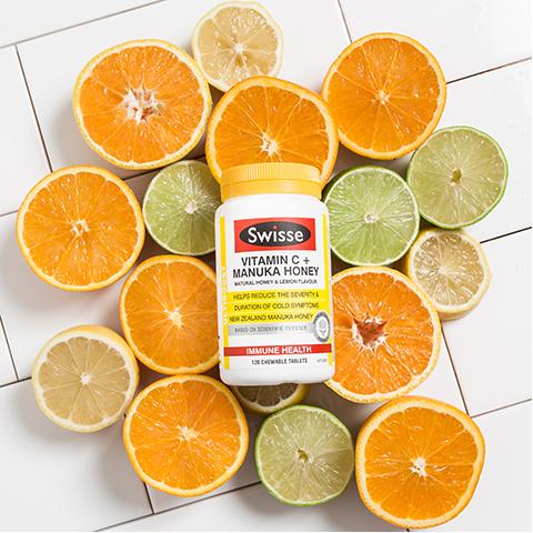 Viên uống Swisse Vitamin C Manuka Honey Úc hỗ trợ tăng cường miễn dịch chính hãng