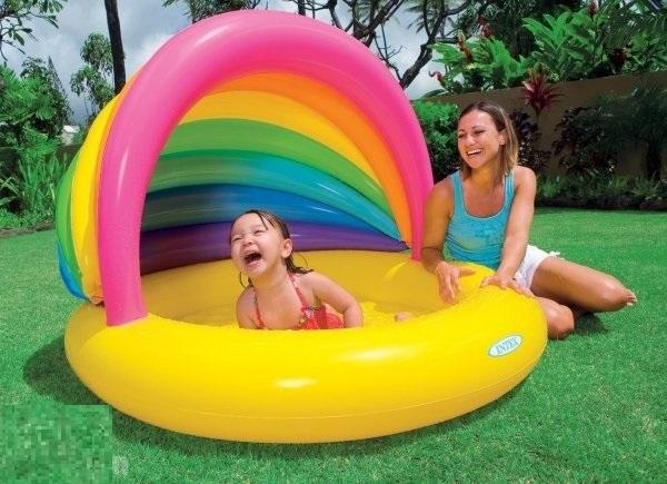 Bể bơi phao mái che cầu vồng Intex 57420 cho bé 1-15 tuổi