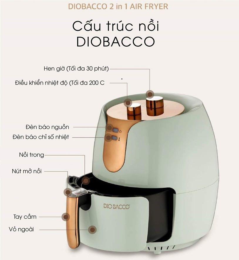 Thiết kế Nồi chiên không dầu Diobacco 2 in 1 Hàn Quốc
