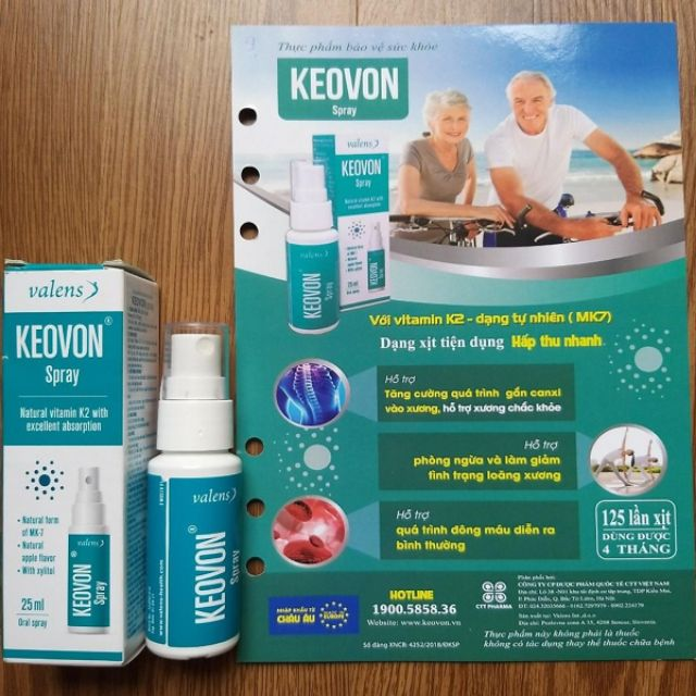 Xịt Keovon Spray Vitamin K2 hỗ trợ hấp thu canxi