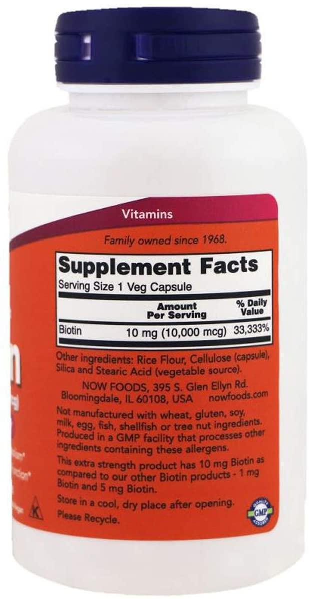 Thành phần Viên Uống Hỗ Trợ Mọc Tóc NOW Foods Biotin 1000mcg