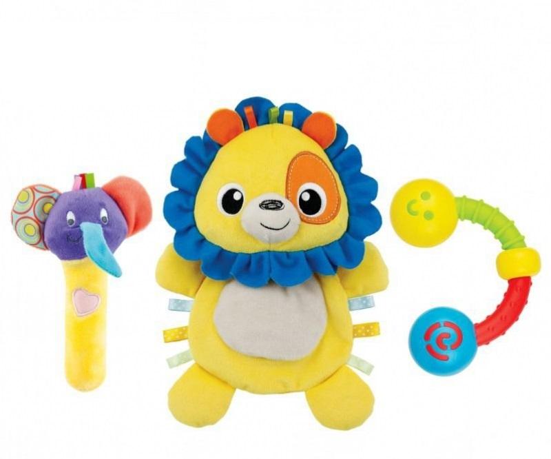 Set 3 đồ chơi cầm tay xúc xắc chíp chíp, sư tử Winfun 3028