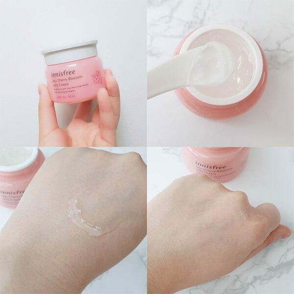 Innisfree Jeju Cherry Blossom jelly Cream kết cấu dạng thạch trong suốt giúp cấp ẩm hiệu quả