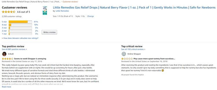 Phản hồi từ phía khách hàng sử dụng siro Little Remedies Tummys Drops Gas (2)
