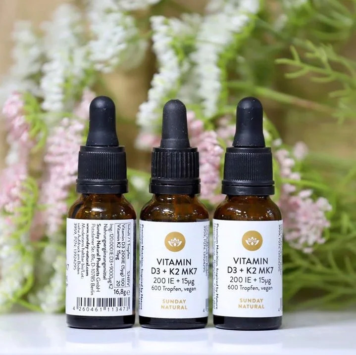 Vitamin D3 K2 MK7 Sunday Natural hỗ trợ tăng cường hấp thu canxi hiệu quả