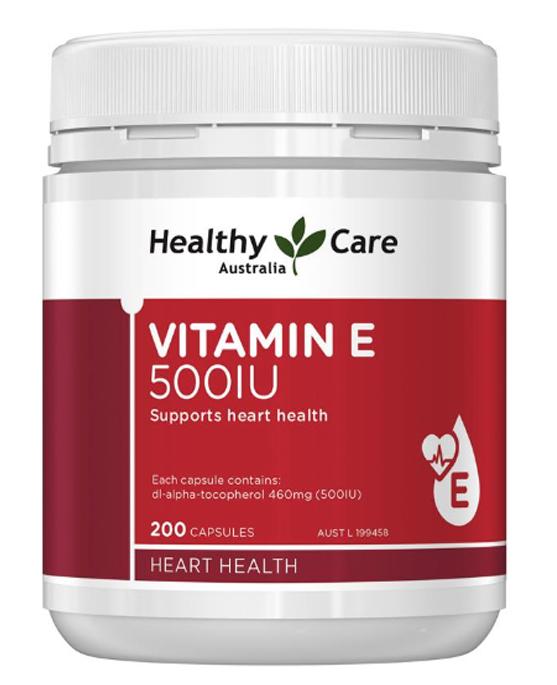 Viên uống Vitamin E Healthy Care 500IU hộp 200 viên của Úc (mẫu mới)