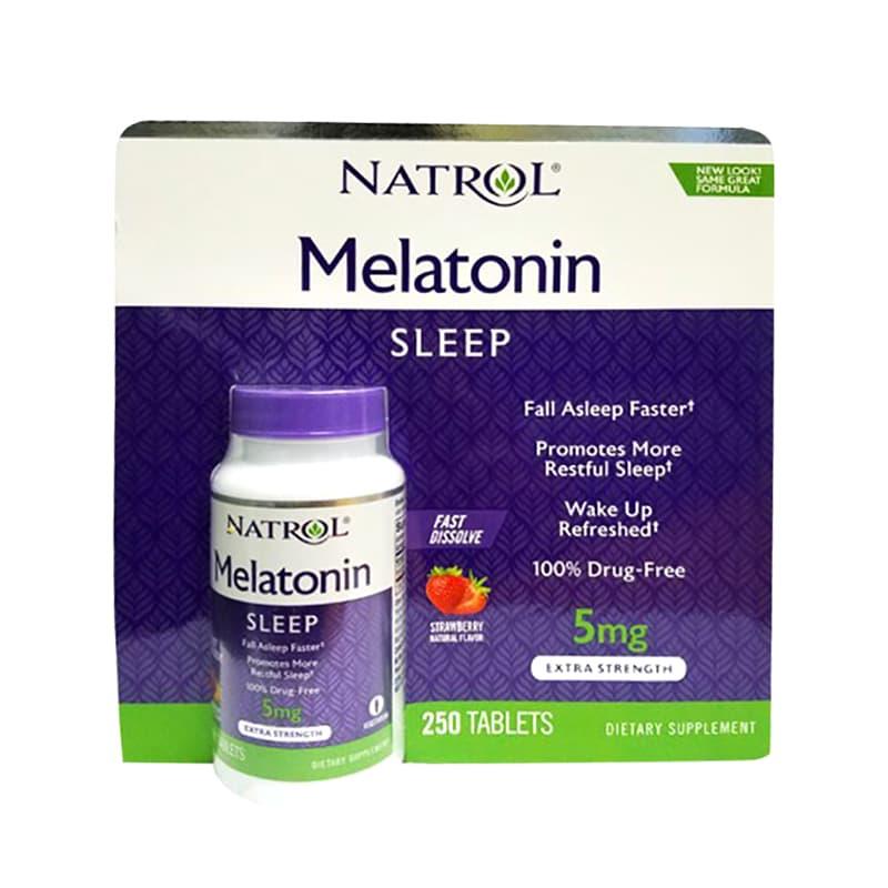 Viên ngậm hỗ trợ mất ngủ Natrol Melatonin Sleep 5mg của Mỹ