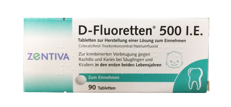 Vitamin D fluoretten 500 I.E của Đức mẫu mới nhất