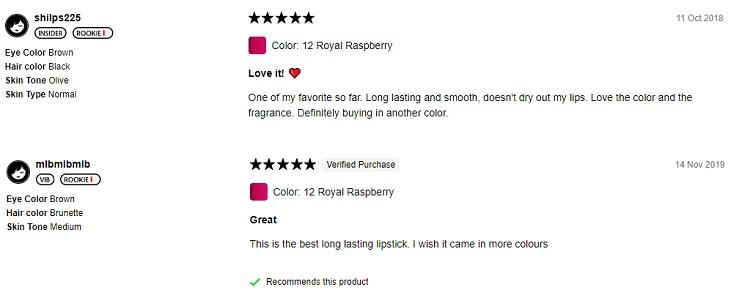 Phản hồi từ phía khách hàng sử dụng son Sephora 12 Royal Raspberry