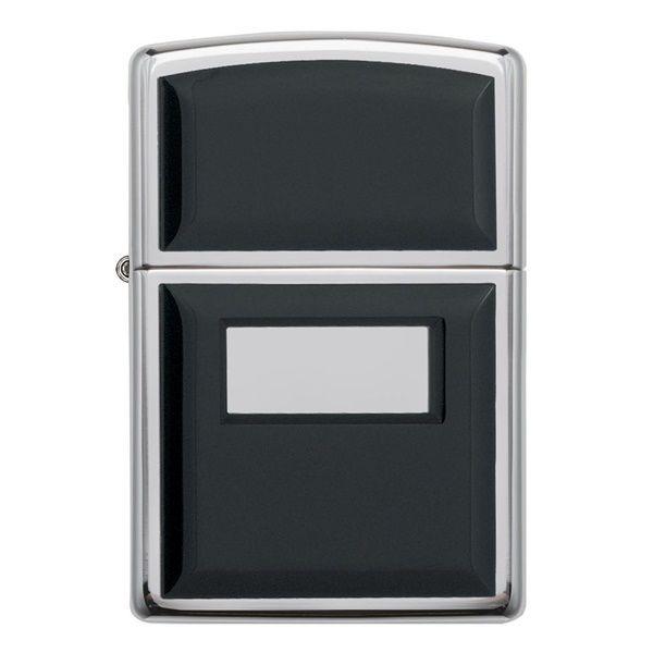 Zippo Ultralite Black Emblem High Polish Chrome