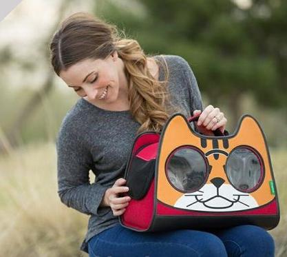 Balo vải hình mặt mèo cho Pet - vật dụng vận chuyển mèo