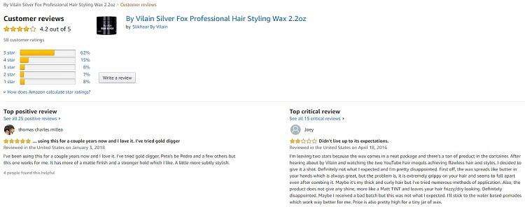 Phản hồi từ phía khách hàng sử dụng sáp vuốt tóc By Vilain Silver Fox 2