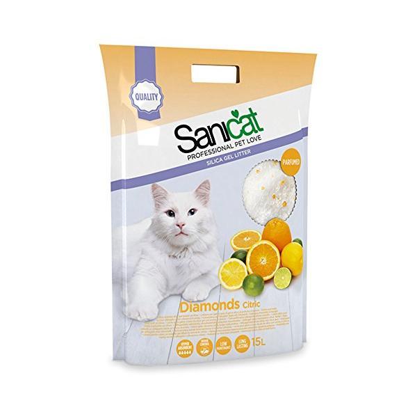 Cát thủy tinh vệ sinh Sanicat Silica Gel hương cam chanh dành cho mèo