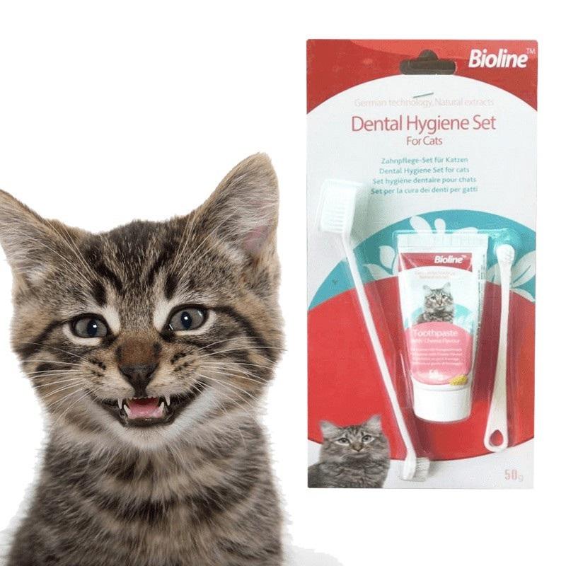 Kem đánh răng Bioline Dental Hygiene Set cho mèo