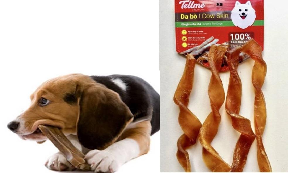 Thức ăn vặt da bò cho chó
