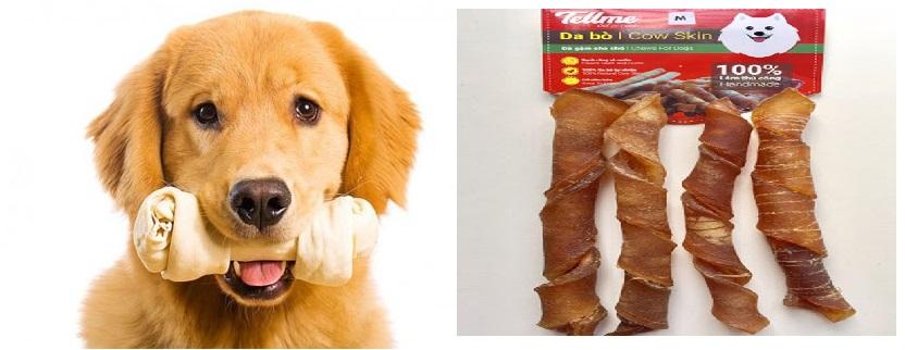 Đồ gặm da bò dạng xoắn trung Tellme cho chó vừa và chó lớn