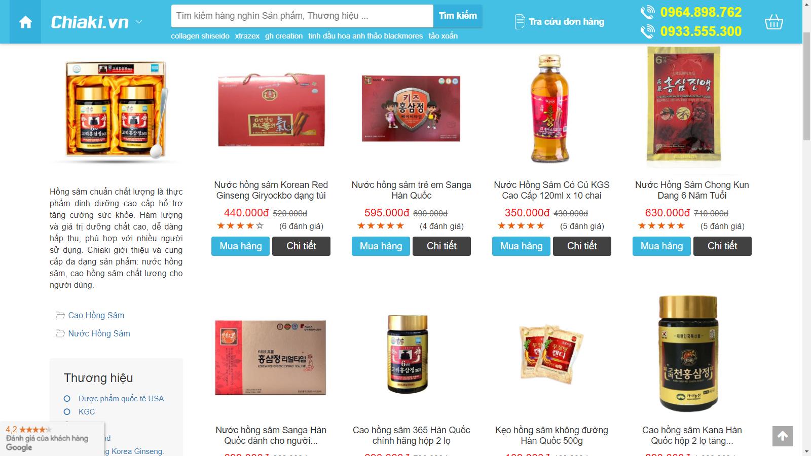 Mua các sản phẩm hồng sâm tại chiaki.vn