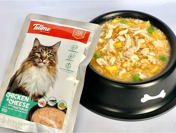 Sốt gà phô mai bổ sung rau củ Tellme cho mèo tăng trưởng đều