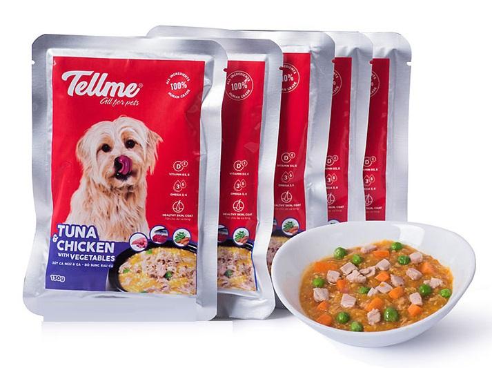 Xốt cá ngừ và gà bổ sung rau củ Tellme cho chó