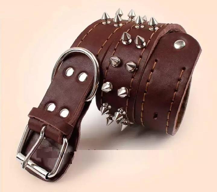 Kiểu thiết kế vòng cổ da 2 hàng đinh cho chó