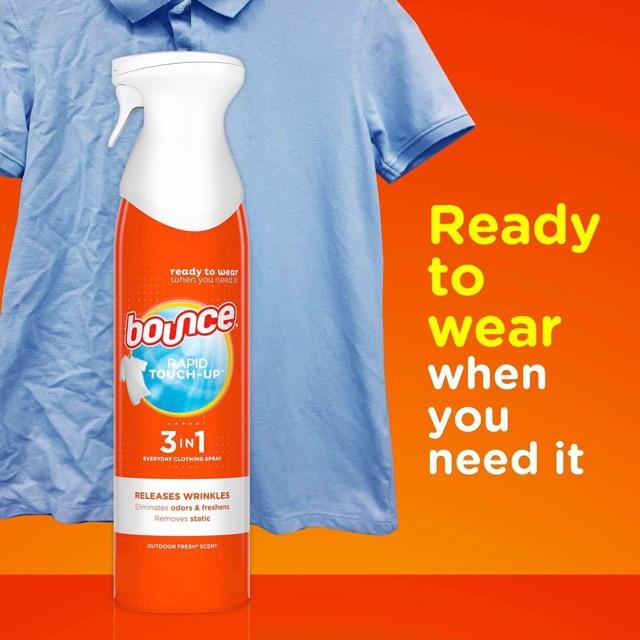 Chai xịt chống nhăn, làm thơm quần áo Bounce Rapid Touch-up 3 in 1