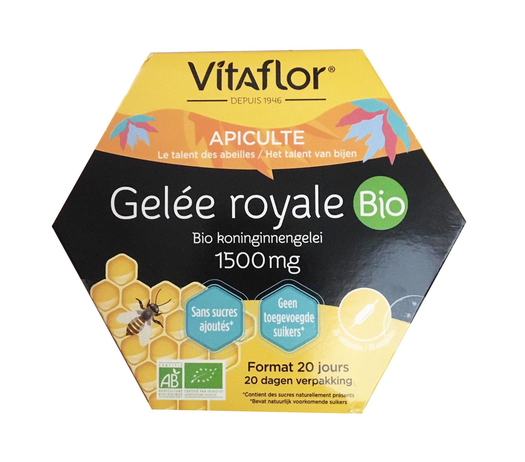 Sữa ong chúa Gelée Royal Vitaflor Bio 1500mg 20 ống của Pháp (mẫu mới)