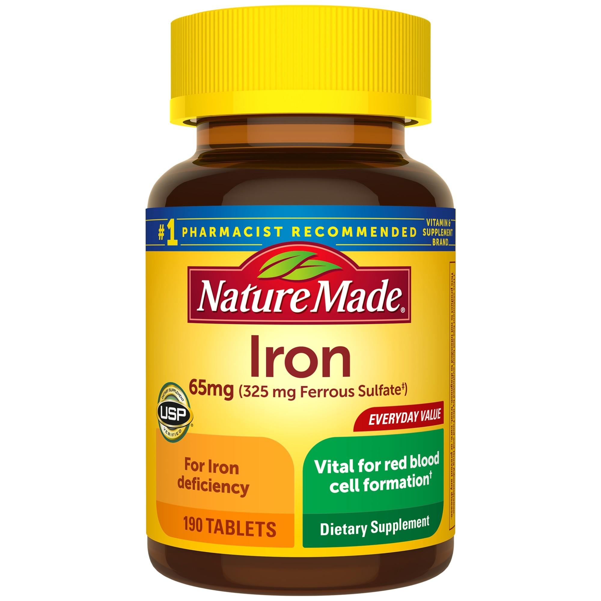 Viên uống bổ sung sắt Nature Made Iron 65mg 190 viên