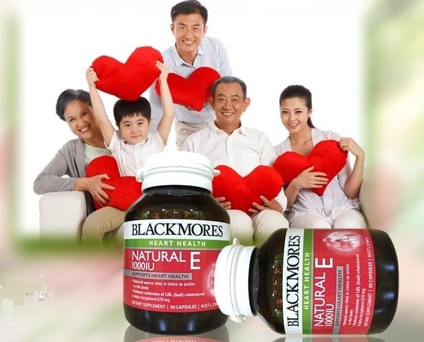 Viên uống Blackmores Natural Vitamin E 1000 IU chăm sóc sức khỏe cả gia đình