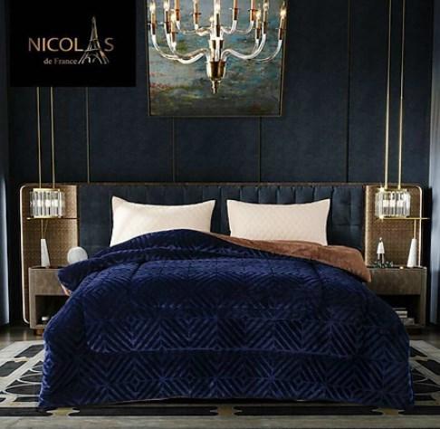 Chăn lông cừu Nicolas nhập khẩu Phápmàu xanh dương xám