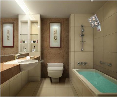 Đèn sưởi nhà tắm 4 bóng Kottman K4B-G lắp đặt nhà tắm diện tích 6m2