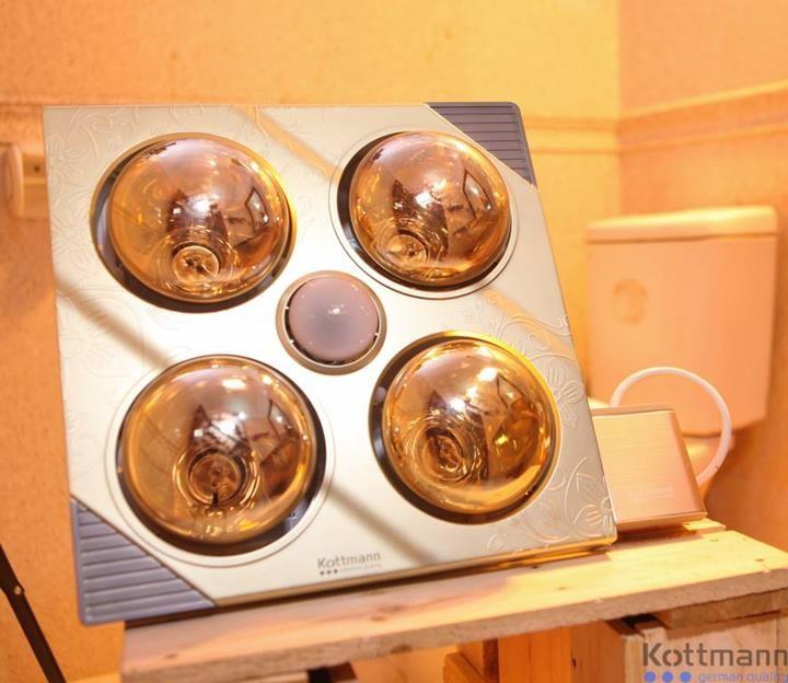 Đèn sưởi nhà tắm 4 bóng Kottman K4B-G làm ấm nhanh, không gây cháy, bỏng da