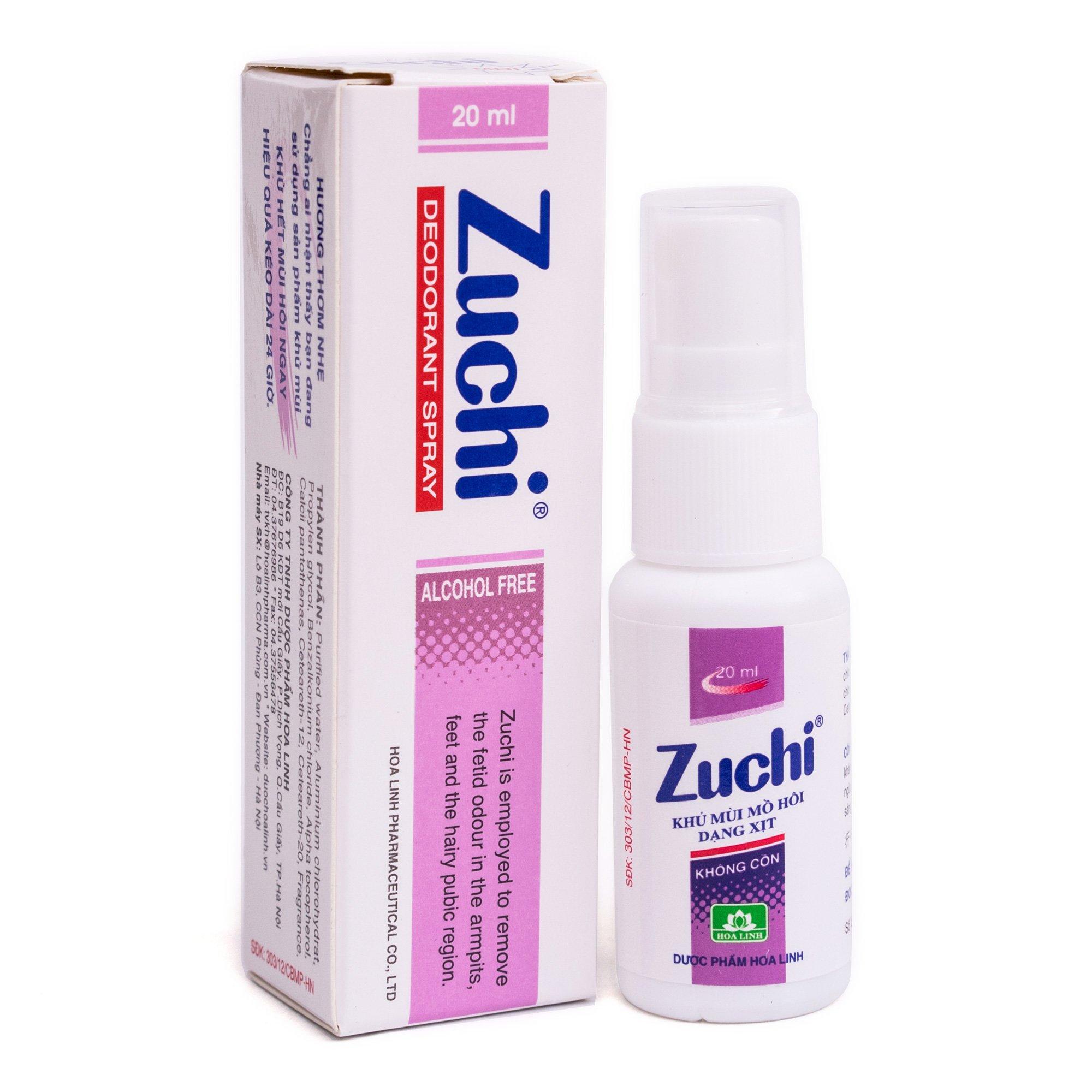Xịt khử mùi hôi Zuchi không cồn.