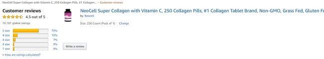 Phản hồi từ khách hàng sử dụng Super Collagen C trên amazon