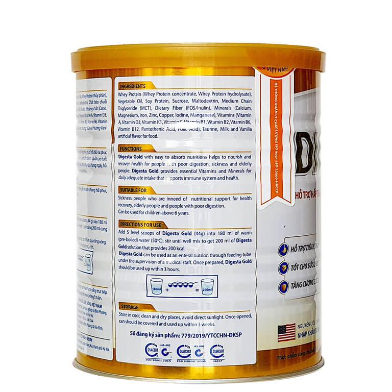 Sữa Digesta Gold giàu dinh dưỡng và năng lượng tốt cho sức khỏe