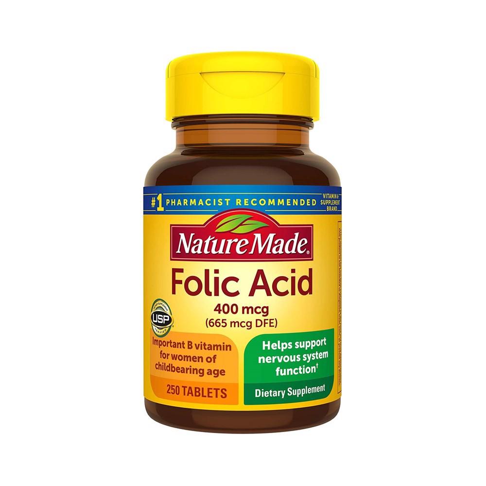 Viên axit Folic Nature Made Folic Acid 400mcg giúp hỗ trợ bổ sung axit folic mẫu mới