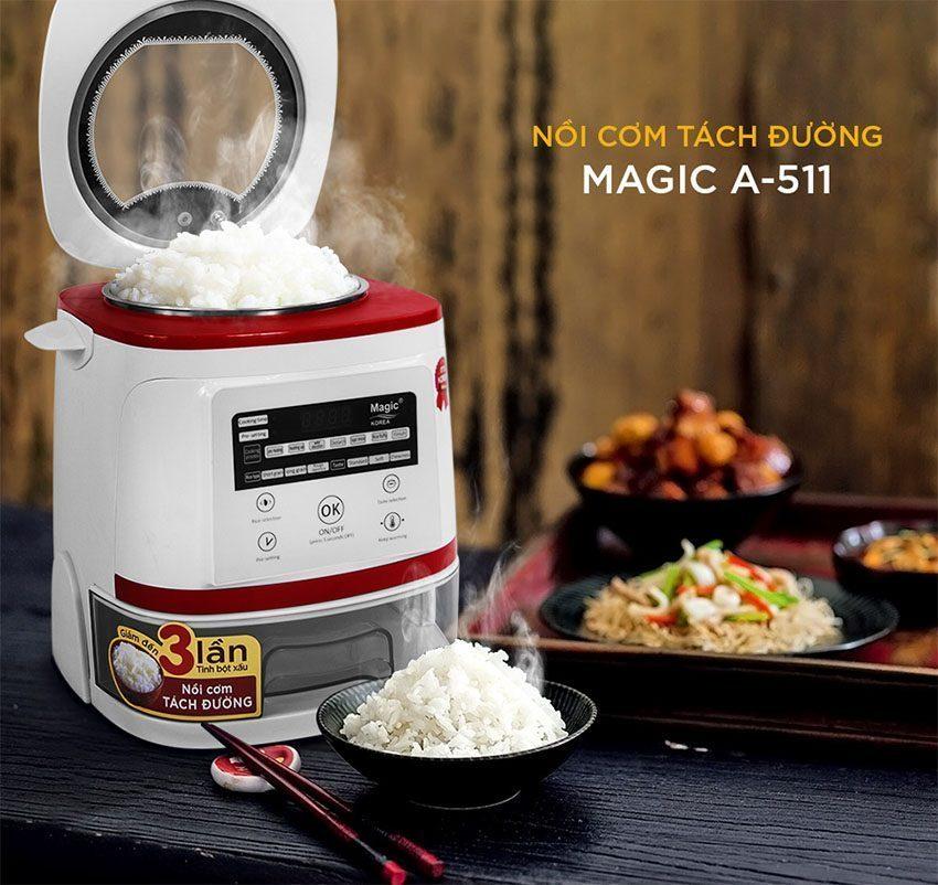 Nồi cơm tách đường Magic Korea A-511 dùng cho người ăn kiêng, cơm mềm, thơm, không vỡ hạt