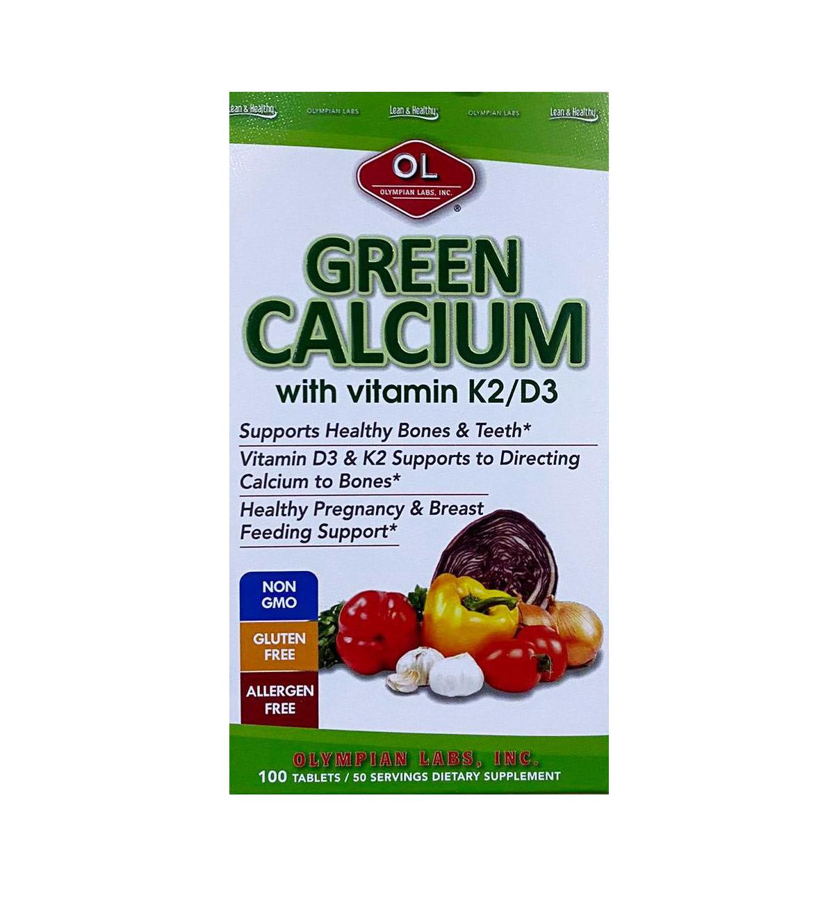 Viên uống bổ sung canxi hữu cơ Olympian Labs Green Calcium mẫu mới