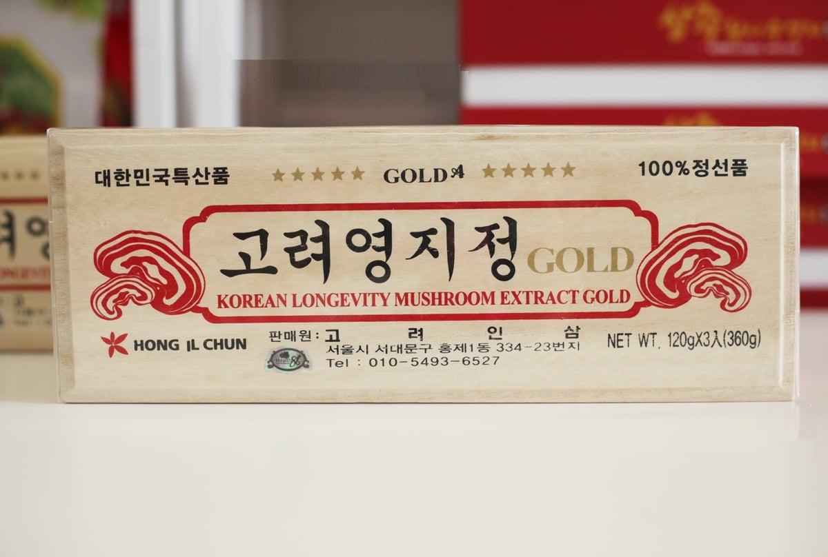 Cao linh chi hộp gỗ trắng Korean Longevity Mushroom Extract Gold