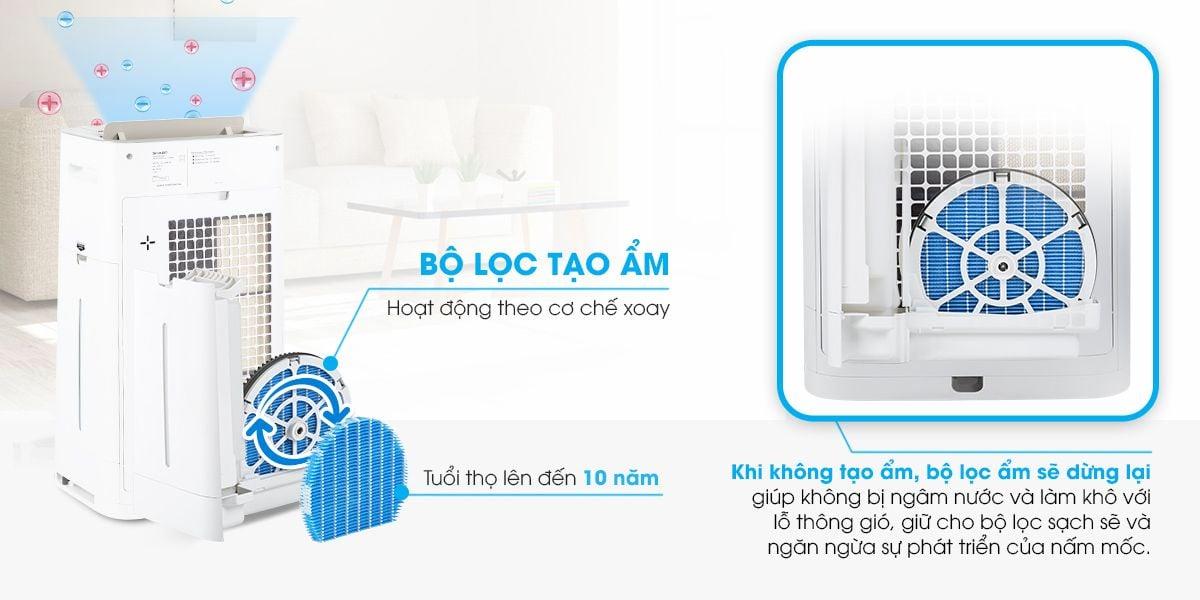 Máy lọc không khí và tạo ẩm Sharp KC-G60EV-W hỗ trợ làm sạch không khí tối ưu