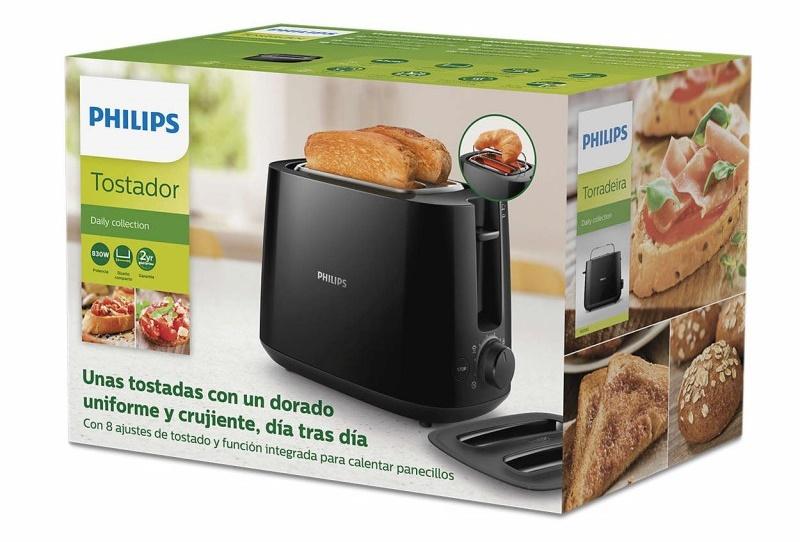 Máy nướng bánh mì Philips HD2582 hỗ trợ vỉ hâm nóng sản phẩm tiện lợi cho gia đình