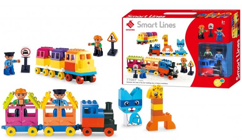 Bộ đồ chơi xếp hình tàu hỏa, động vật 60 mảnh ghép Toys House 77007