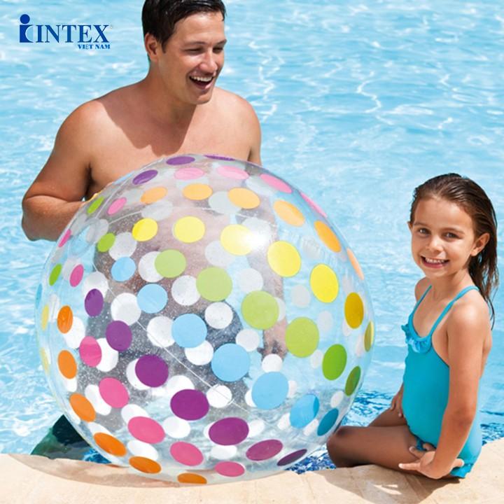 Bóng hơi màu sắc 107cm Intex 59065 cho bé tham gia trò chơi dưới nước