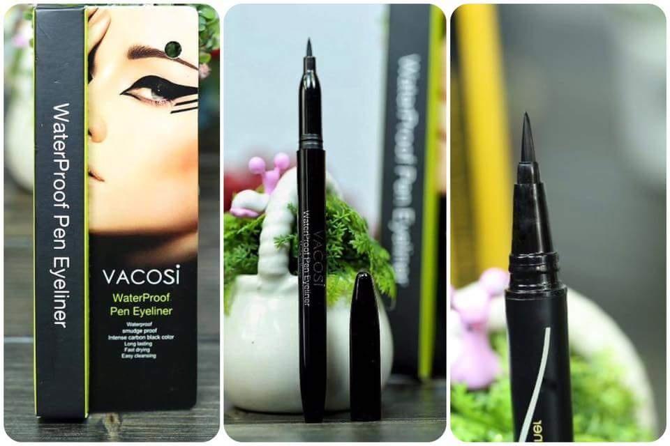 Bút kẻ mắt Vacosi Waterproof Pen Eyeliner đầu bút dễ tạo hình