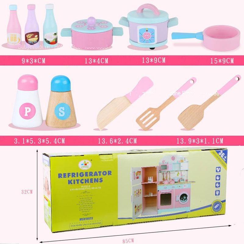 Đồ chơi nấu ăn BBT Global MSN18023 mô phỏng đầy đủ, có tủ lạnh