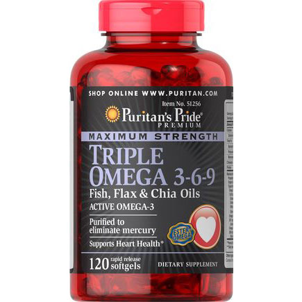 Omega 3-6-9 Fish, Flax & Chia Oils Puritan'S Pride lọ 120 viên của Mỹ